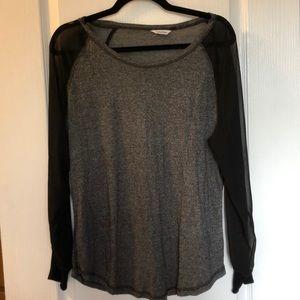 Tops - Calvin Klein Baseball Tee: heathered gray & black